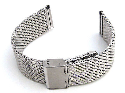 Types Of Watch Bands >> Shark Mesh Link Chainmail Type Stainless Steel Watch Band Straight